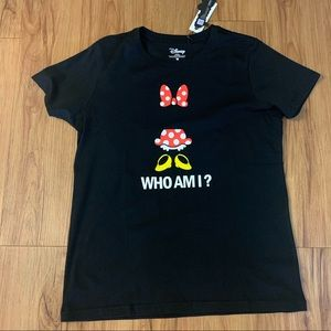 "Disney Mini Mouse Black ""Who Am I"" Graphic T-Shirt"